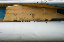 Suspended Fuel Tank On A Military Aircraft. Design Elements And Details Of The Old Soviet Jet Bomber.