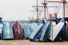 Rowboats Moored On Shore