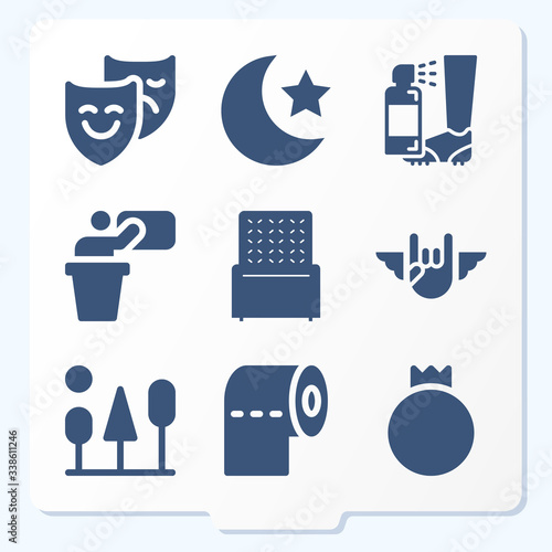 Simple set of 9 icons related to assign Canvas Print