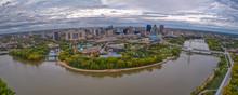 Aerial View Of Downtown Winnip...