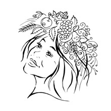 A Girl With A Wreath Of Flower...