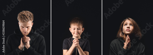 Photo Religious man praying to God on dark background
