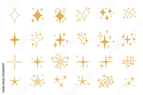 Fototapeta Set of golden, yellow sparkles icons. Flat and outline decorative twinkle. Template spark for glowing light effect, star, bursts firework. Different shapes shine. Isolated on white vector illustration obraz na płótnie