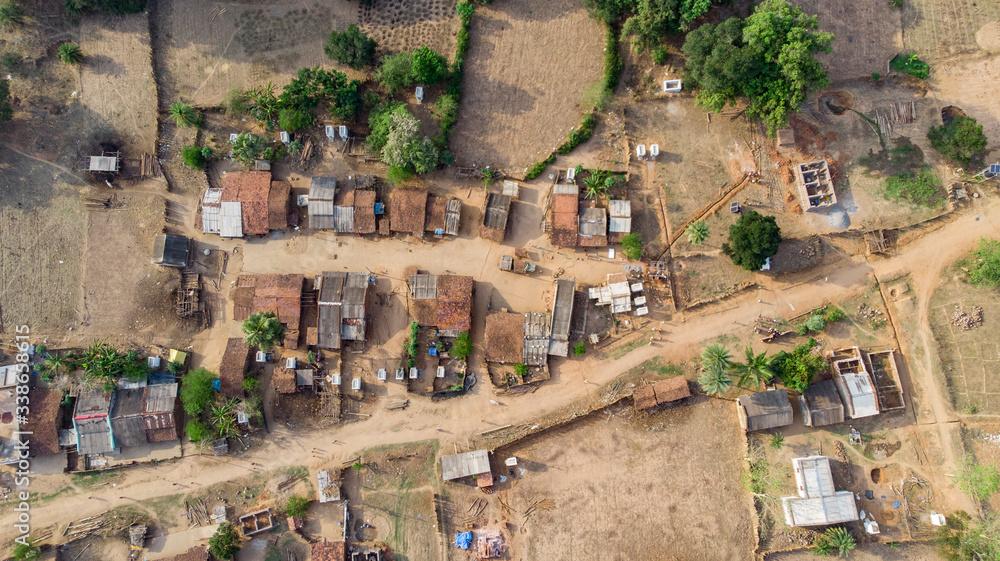 Fototapeta Aerial view of a rural area in Odisha, India