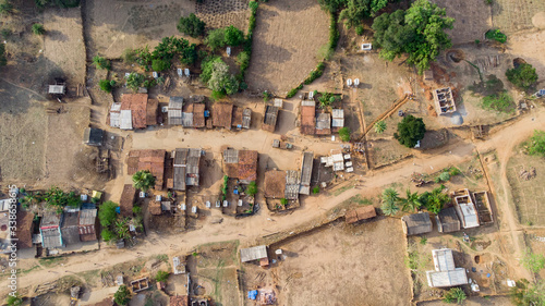 Fototapeta Aerial view of a rural area in Odisha, India obraz