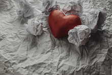 Red Heart On A White Crumpled ...