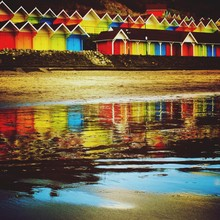 View Of Multi Colored Huts On ...