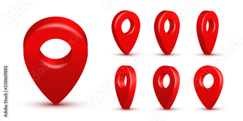 Fotografie, Obraz Shiny red realistic map pins set