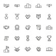 Vector line icons collection of trophy.