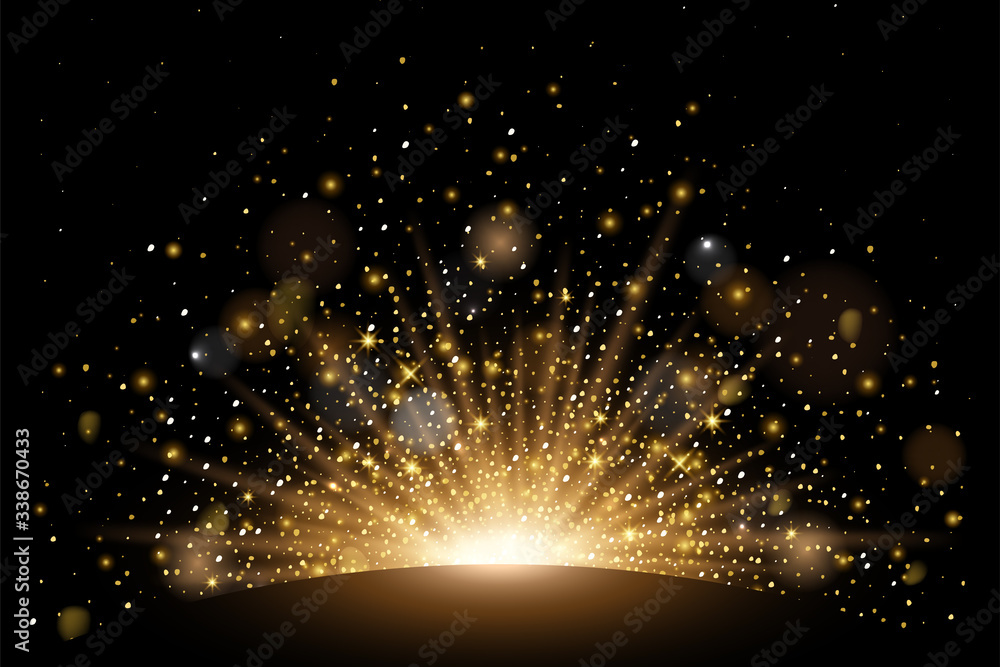 Fototapeta Vector rising sun light effect with rays, stars and sparkles with bokeh. Realistic design element soft half fireworks with glitter splatter elements. Vector isolated on plaid vector background.