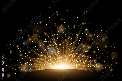 Vector rising sun light effect with rays, stars and sparkles with bokeh. Realistic design element soft half fireworks with glitter splatter elements. Vector isolated on plaid vector background.