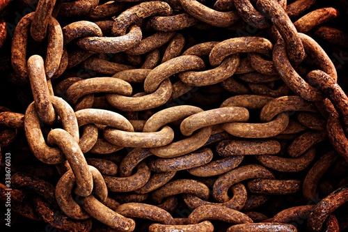 Leinwand Poster Full Frame Shot Of Rusty Chain