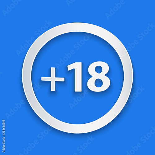 Paper cut Plus 18 movie icon isolated on blue background Canvas Print