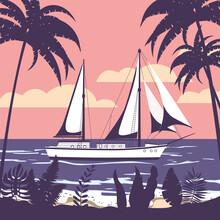 Sailing Ship Banner Retro Vint...