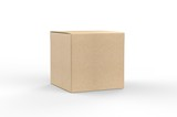 Blank white cube product packaging paper cardboard box. 3d render illustration.