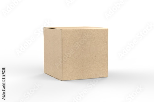Fotografija Blank white cube product packaging paper cardboard box