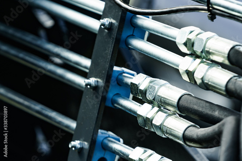 Pipe system of hydraulic valves in agricultural machinery фототапет