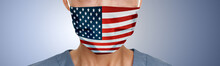 USA American Flag Print On Face Mask Protective PPE Doctor Panoramic Banner.