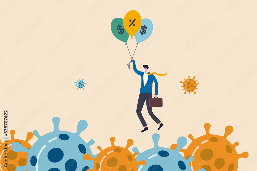 Fototapeta Coronavirus crisis, COVID-19 pandemic impact all business and company with help of banking and government to reduce interest rate and stimulus package, businessman holding balloons fly pass virus.