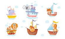 Cartoon Animals In Sailor Hats Boating And Sailing Vector Set