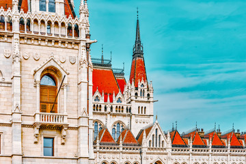 Hungarian Parliament Main Entrance. Budapest. Fragments of Building. Hungary