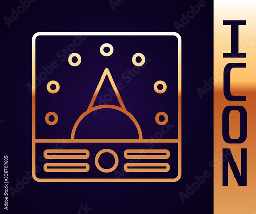 Gold line Ampere meter, multimeter, voltmeter icon isolated on black background Canvas Print