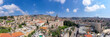 Aerial panoramic image of the Basilica of the Annunciation over the old city houses of Nazareth