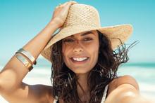 Happy Woman Wearing Straw Hat ...