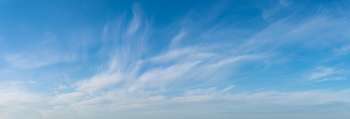 panorama of beautiful white clouds in the blue sky