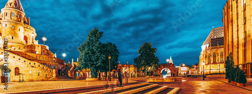 View on the Old Fisherman Bastion in Budapest. Night time. Canvas Print