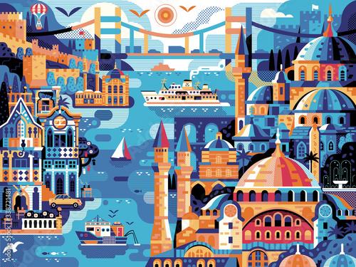 Obraz na plátně Istanbul Panoramic Cityscape Travel Horizontal Vintage Poster