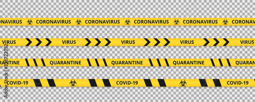 Fototapeta Quarantine tape Сoronavirus. Warning coronavirus quarantine yellow and black stripes obraz