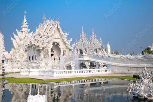 Unique white temple and popular tourist attraction in Chiang Rai (known as Wat R Canvas Print
