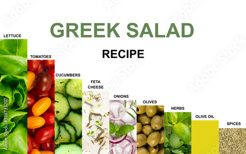 Fototapety, obrazy: Greek Salad, Horiatiki or Village Salad with Feta Cheese