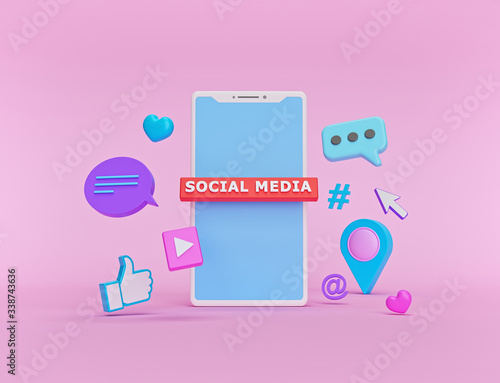 Fototapeta social network Icons with a smartphone. abstract trendy design for social media advertising. technology concept. 3d rendering obraz