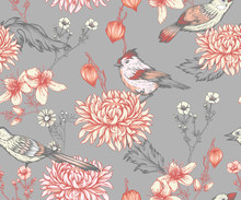 Vintage Seamless Pattern With Flowers And Little Birds