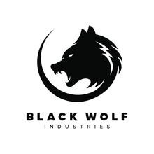Black Wolf Logo Vector Illustration, Design Element For Logo, Poster, Card, Banner, Emblem, T Shirt. Vector Illustration