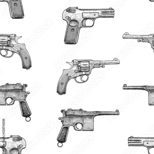 Seamless pattern of sketches old pistols Wallpaper Mural