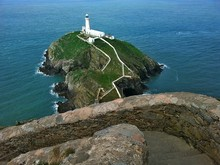 High Angle View Of South Stack Lighthouse Amidst Sea