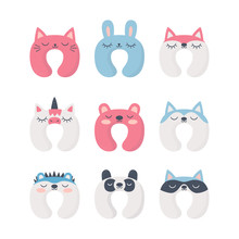 Set Of Sleep Neck Pillows With Cute Animals. Night Accessory To Healthy Sleep, Travel And Recreation. Isolated Vector Illustrations On White Background