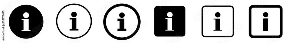 Fototapeta Info Point Icon Black | Information Illustration | i Point Symbol | Help Logo | Hint Sign | Isolated | Variations