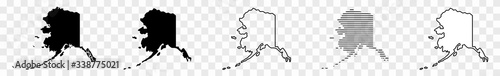 Alaska Map Black | State Border | United States | US America | Transparent Isola Wallpaper Mural