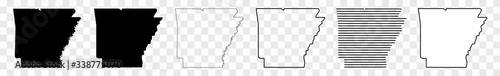 Photo Arkansas Map Black | State Border | United States | US America | Transparent Iso