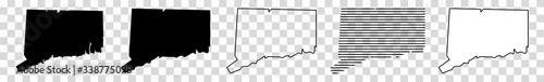 Obraz Connecticut Map Black   State Border   United States   US America   Transparent Isolated   Variations - fototapety do salonu