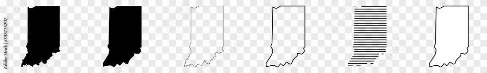 Fototapeta Indiana Map Black | State Border | United States | US America | Transparent Isolated | Variations
