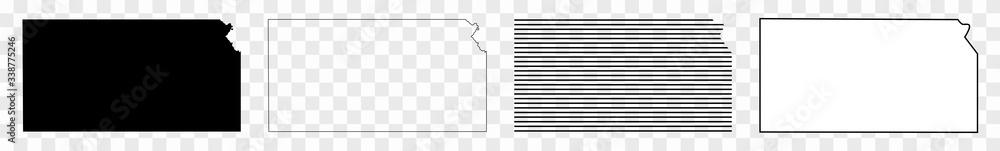 Fototapeta Kansas Map Black | State Border | United States | US America | Transparent Isolated | Variations