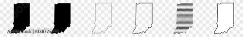 Fotografia Indiana Map Black   State Border   United States   US America   Transparent Isol