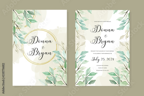 Fototapety, obrazy: wedding invitation card template with green leaves watercolor background