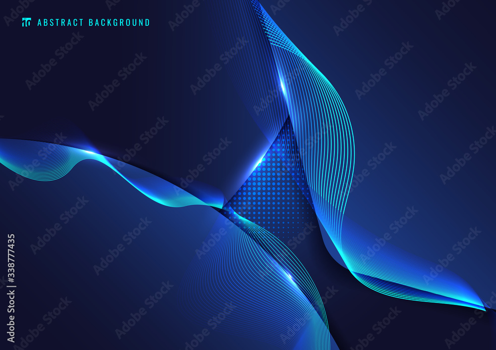 Fototapeta Abstract blue geometric with wavy line and lighting effect on dark background.