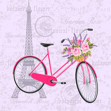 Pink Bicycle With A Basket Full Of Flowers. Vintage Postcard Background With Eiffel Tower. Vector Illustration